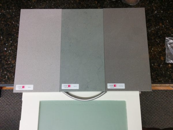 "We were down to these three colors. From left to right: ""Niebla"", ""Cygnus"", and ""Grey Expo""."