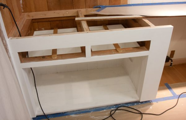 The cabinets after priming, ready for the top coats.